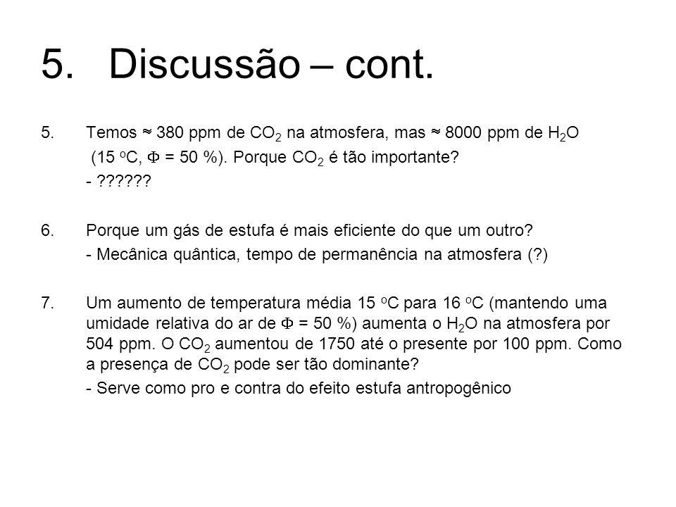 5. Discussão – cont. Temos  380 ppm de CO2 na atmosfera, mas  8000 ppm de H2O. (15 oC,  = 50 %). Porque CO2 é tão importante