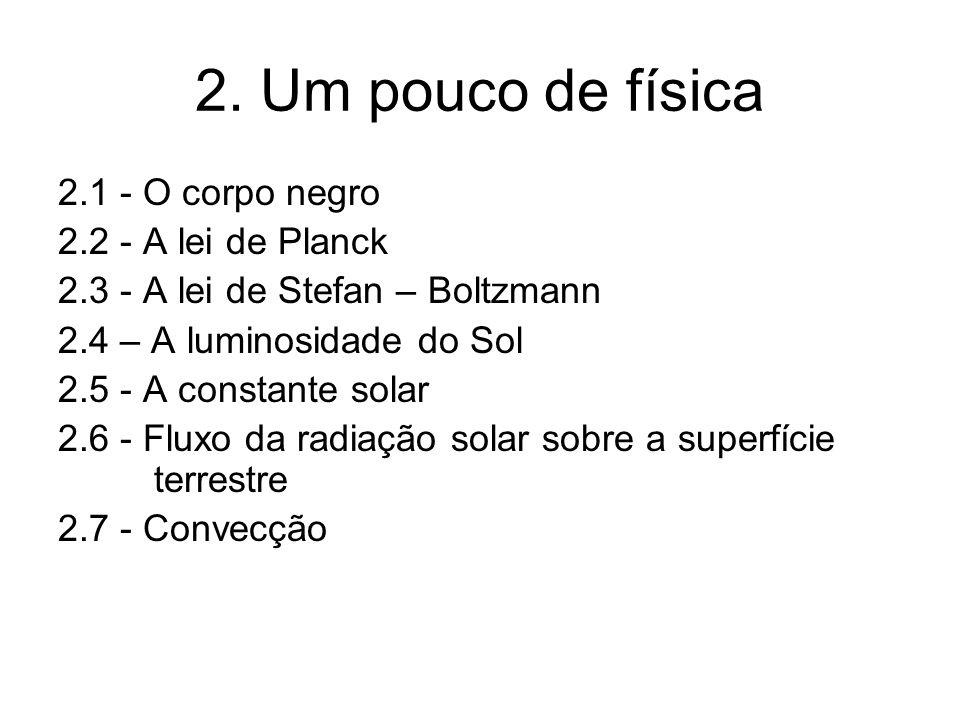 2. Um pouco de física 2.1 - O corpo negro 2.2 - A lei de Planck
