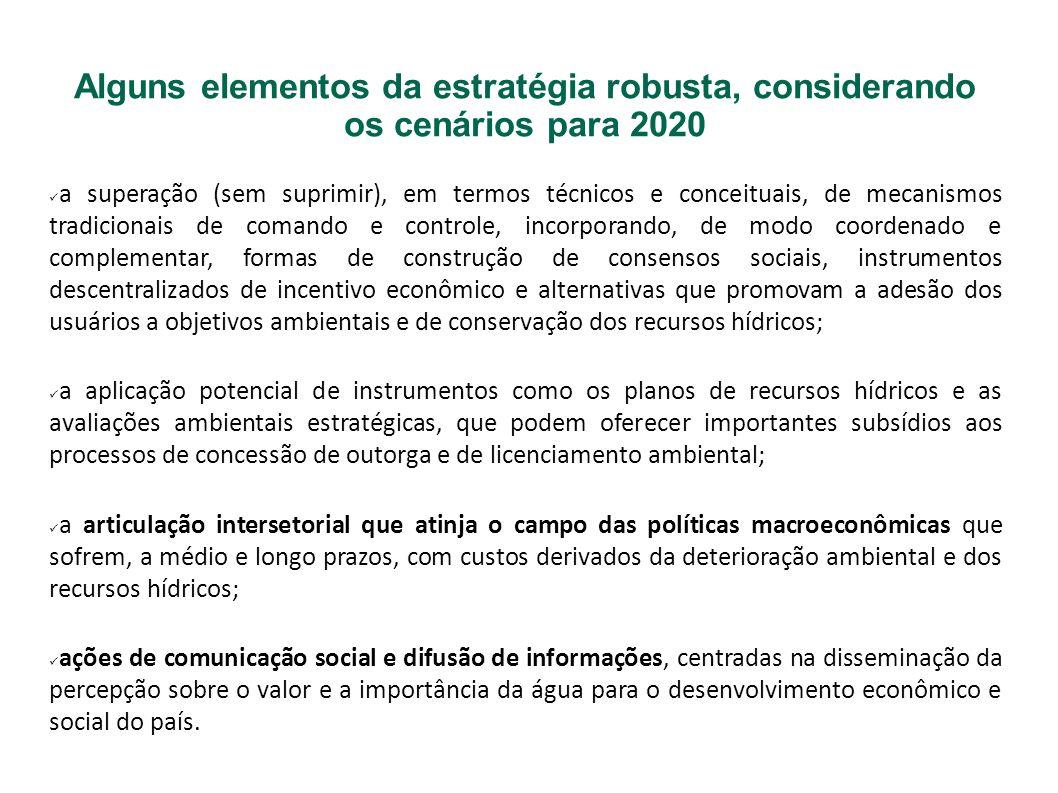 Alguns elementos da estratégia robusta, considerando os cenários para 2020