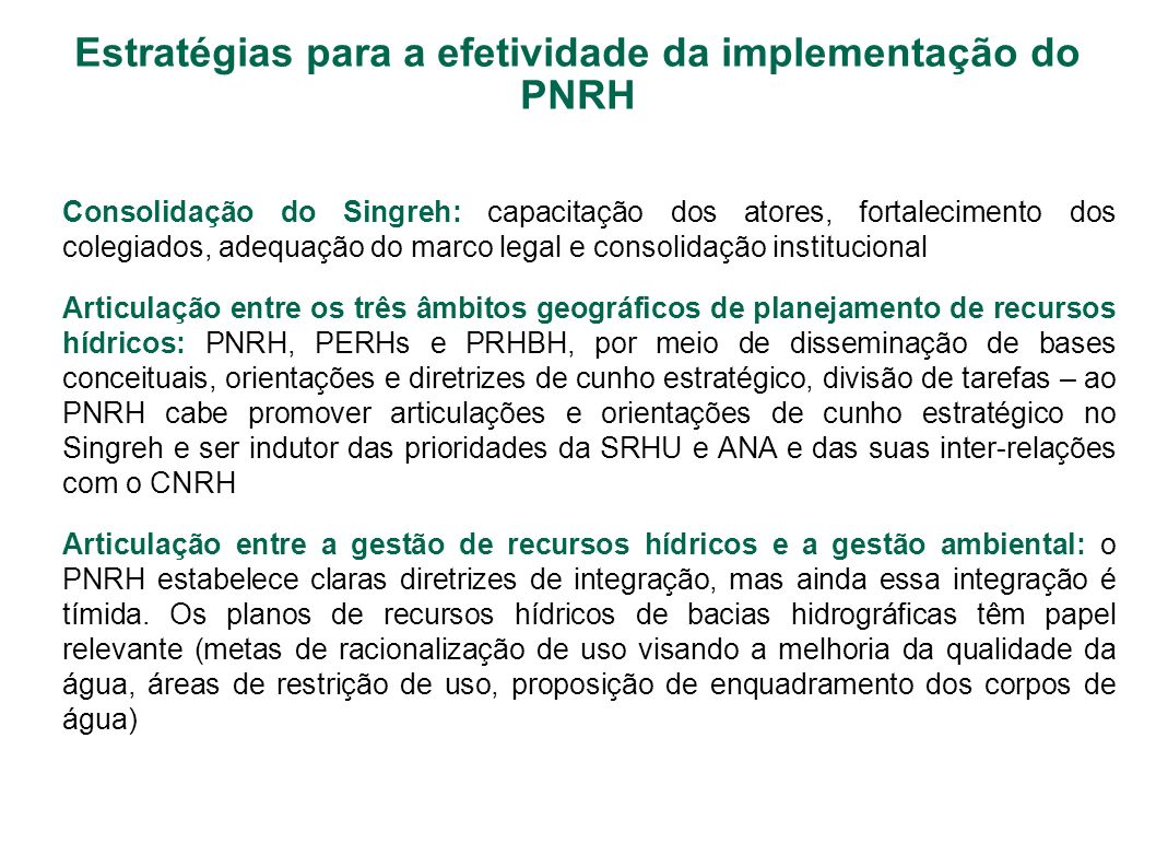 Estratégias para a efetividade da implementação do PNRH