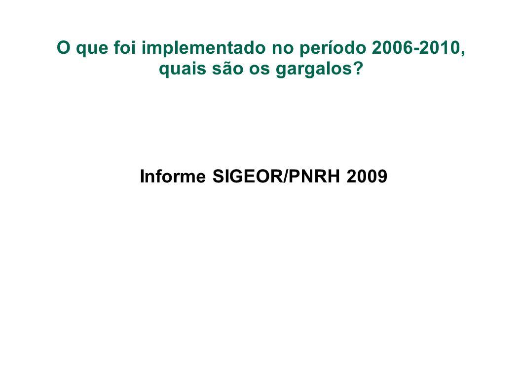 O que foi implementado no período 2006-2010, quais são os gargalos