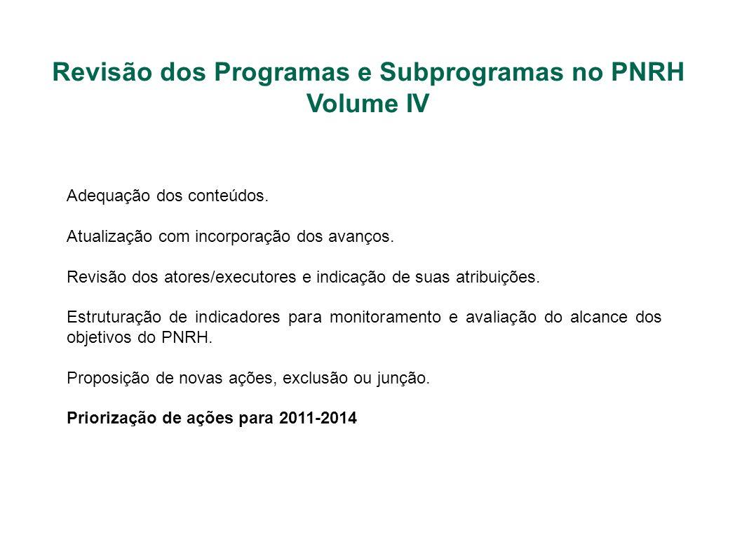 Revisão dos Programas e Subprogramas no PNRH Volume IV