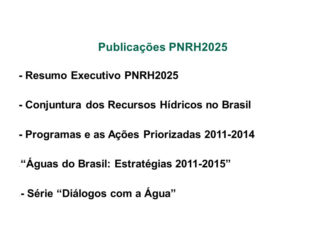 Publicações PNRH2025 - Resumo Executivo PNRH2025