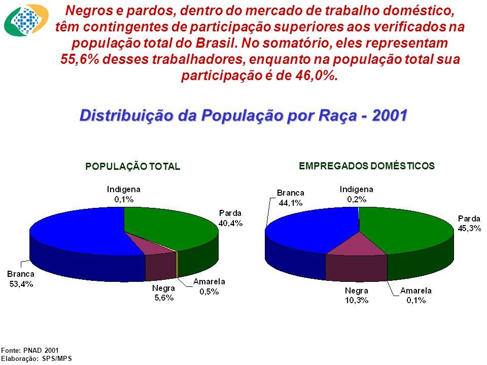 Distribuição da População por Raça - 2001