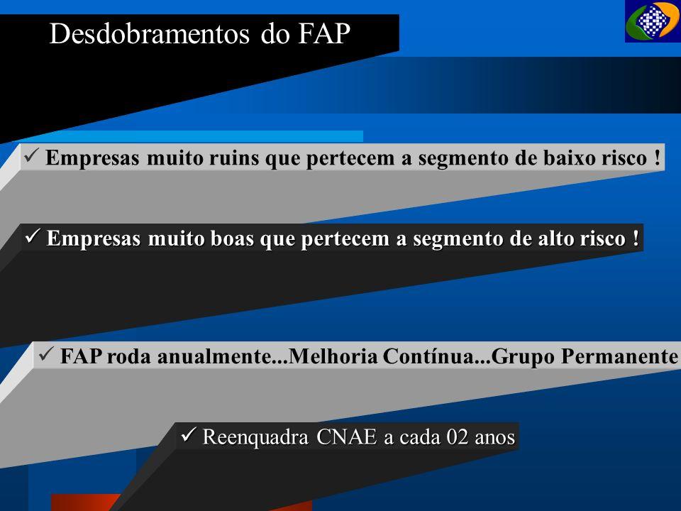 Desdobramentos do FAP Empresas muito ruins que pertecem a segmento de baixo risco ! Empresas muito boas que pertecem a segmento de alto risco !