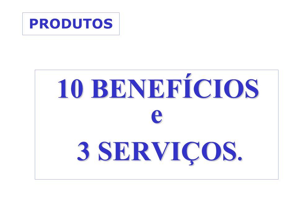 PRODUTOS 10 BENEFÍCIOS e 3 SERVIÇOS.