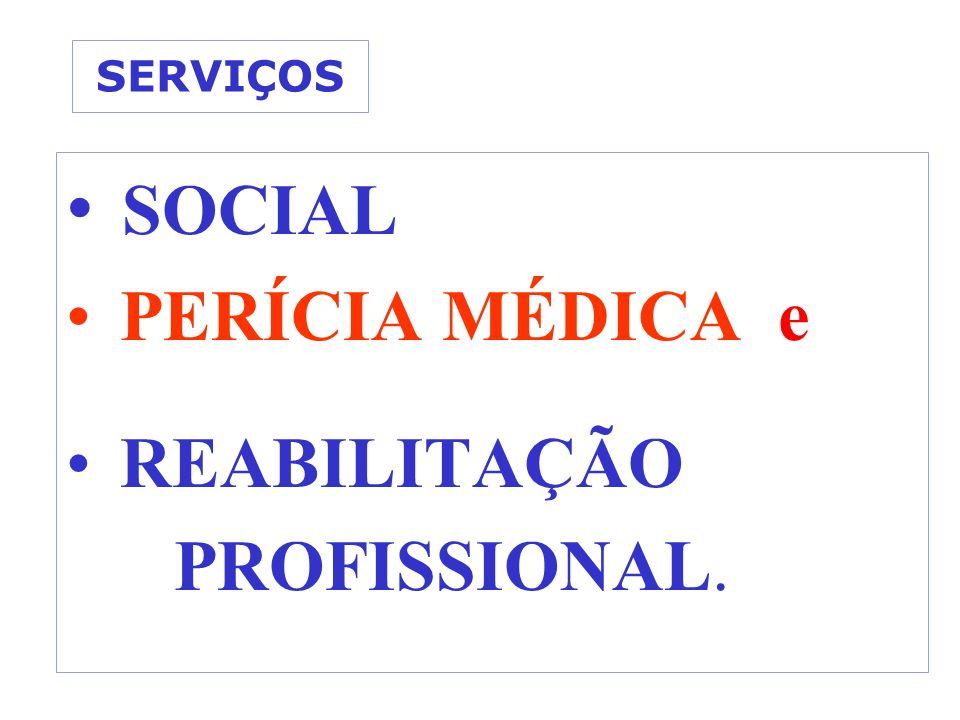 SERVIÇOS SOCIAL PERÍCIA MÉDICA e REABILITAÇÃO PROFISSIONAL.