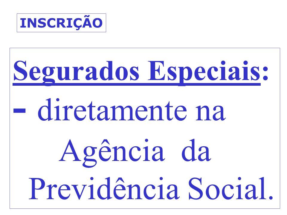 Agência da Previdência Social. Segurados Especiais: - diretamente na