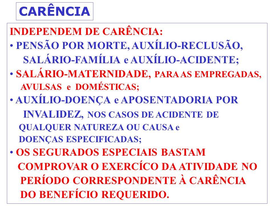 CARÊNCIA INDEPENDEM DE CARÊNCIA: PENSÃO POR MORTE, AUXÍLIO-RECLUSÃO,