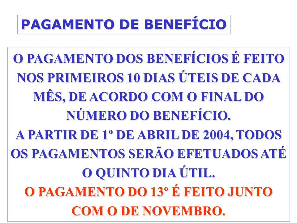 PAGAMENTO DE BENEFÍCIO