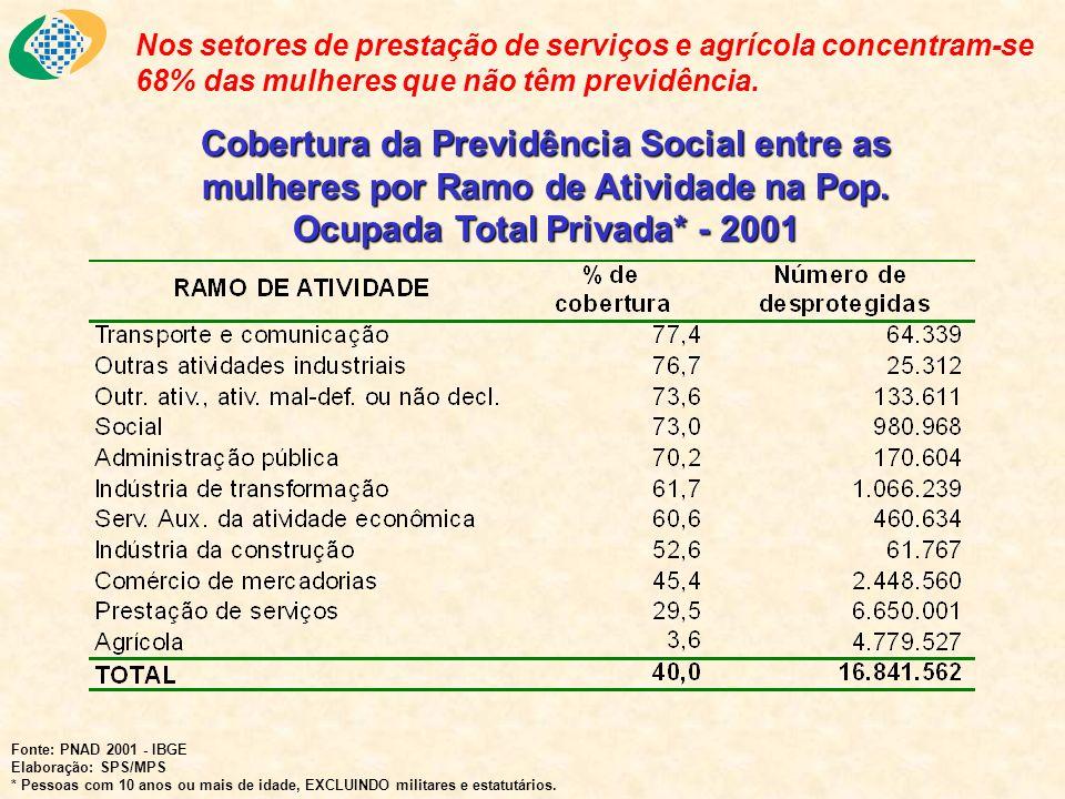 Nos setores de prestação de serviços e agrícola concentram-se 68% das mulheres que não têm previdência.