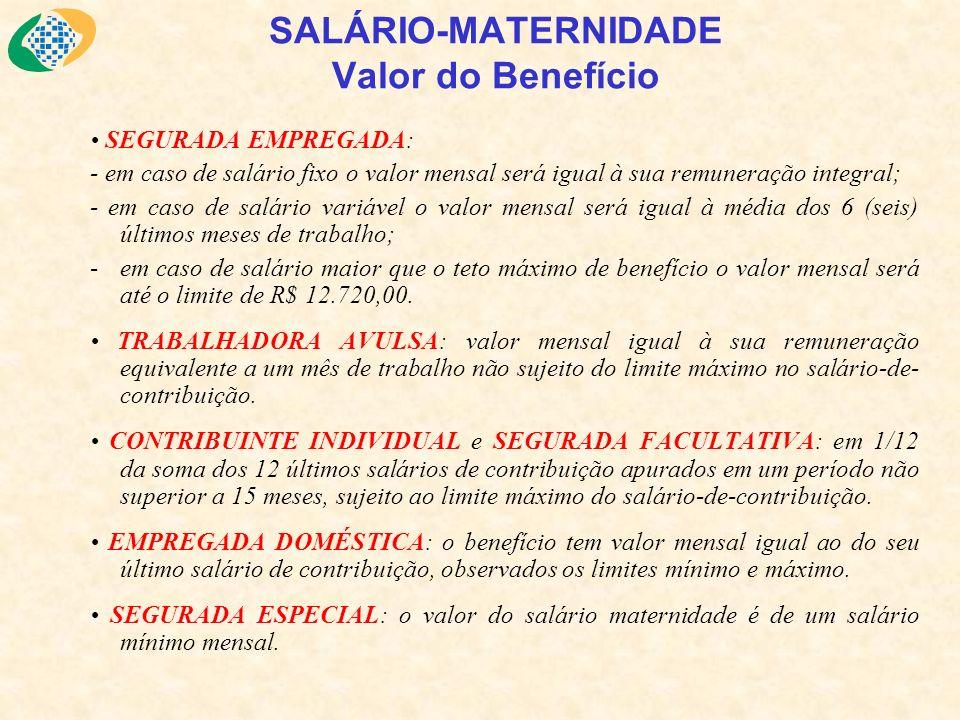 SALÁRIO-MATERNIDADE Valor do Benefício