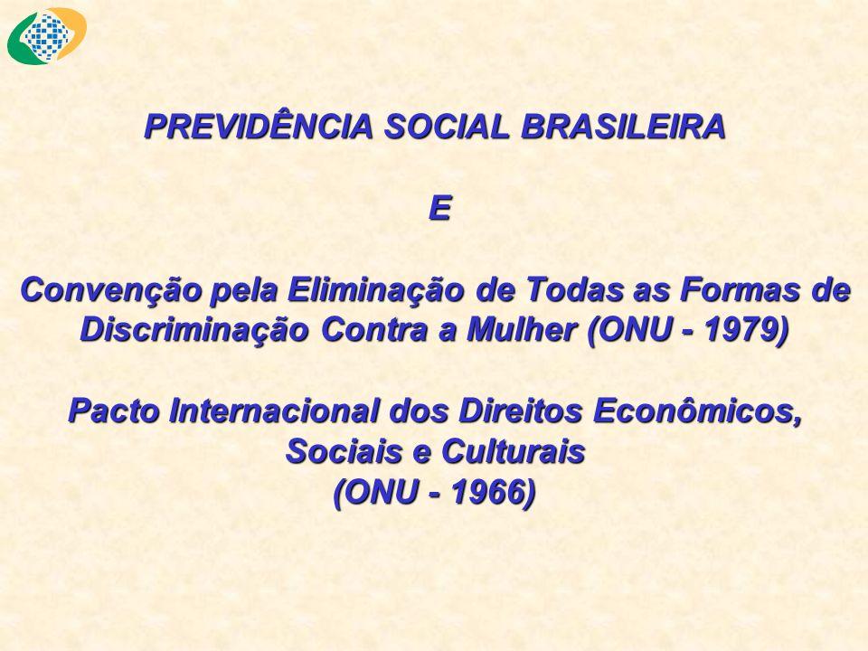 PREVIDÊNCIA SOCIAL BRASILEIRA E Convenção pela Eliminação de Todas as Formas de Discriminação Contra a Mulher (ONU - 1979) Pacto Internacional dos Direitos Econômicos, Sociais e Culturais (ONU - 1966)