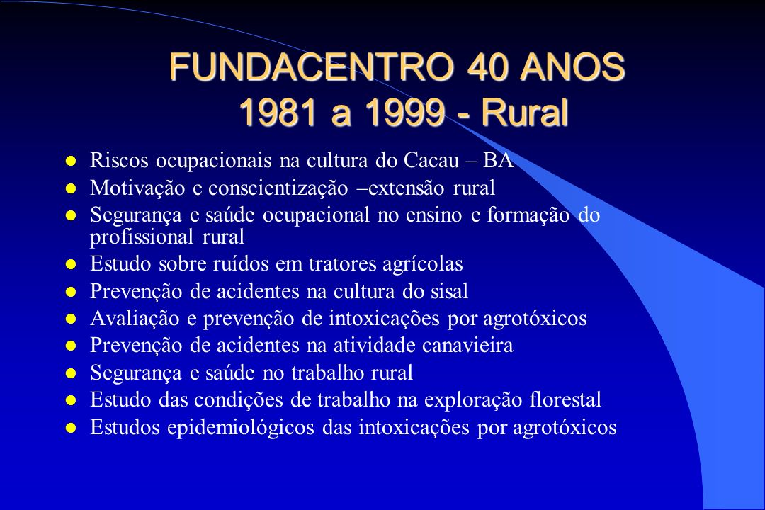 FUNDACENTRO 40 ANOS 1981 a 1999 - Rural