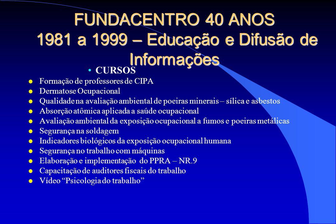 FUNDACENTRO 40 ANOS 1981 a 1999 – Educação e Difusão de Informações