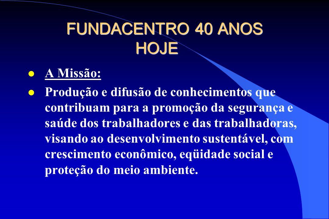 FUNDACENTRO 40 ANOS HOJE A Missão: