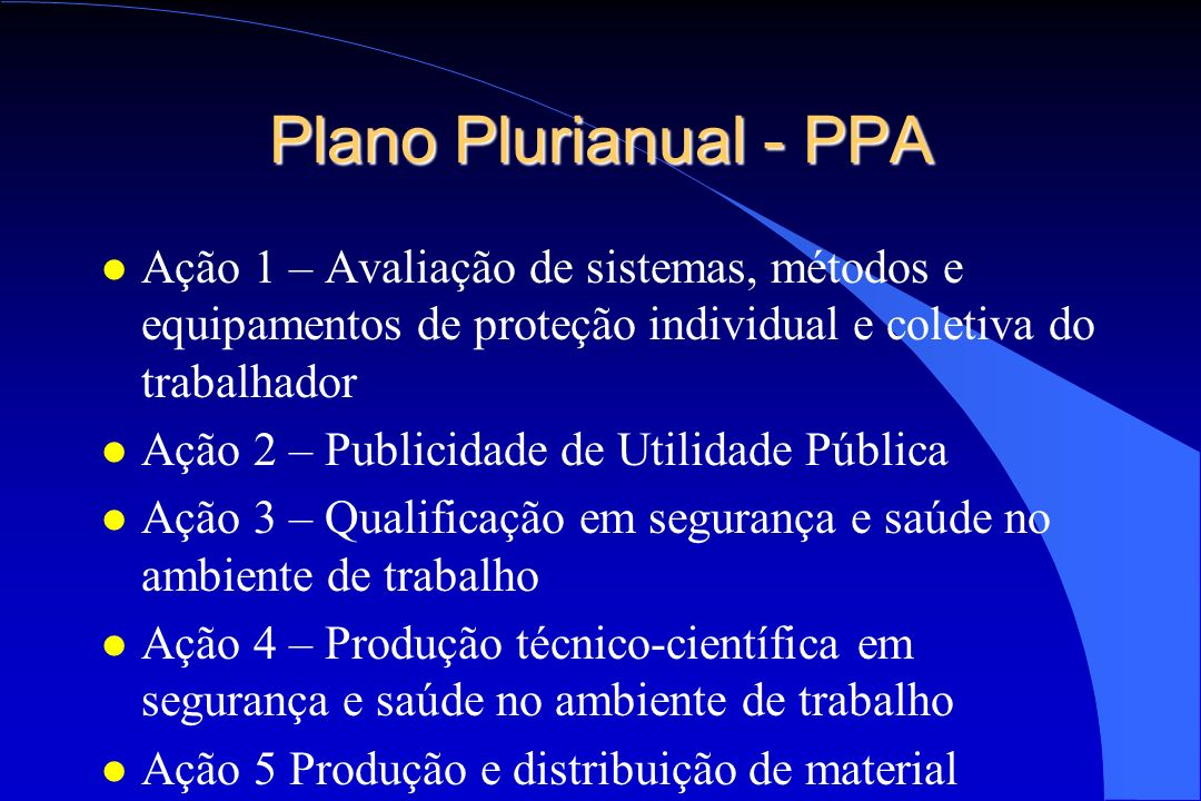 Plano Plurianual - PPAAção 1 – Avaliação de sistemas, métodos e equipamentos de proteção individual e coletiva do trabalhador.