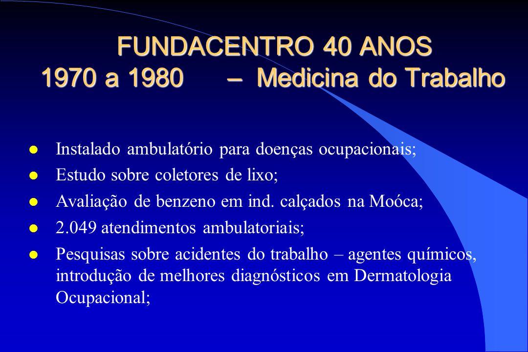 FUNDACENTRO 40 ANOS 1970 a 1980 – Medicina do Trabalho