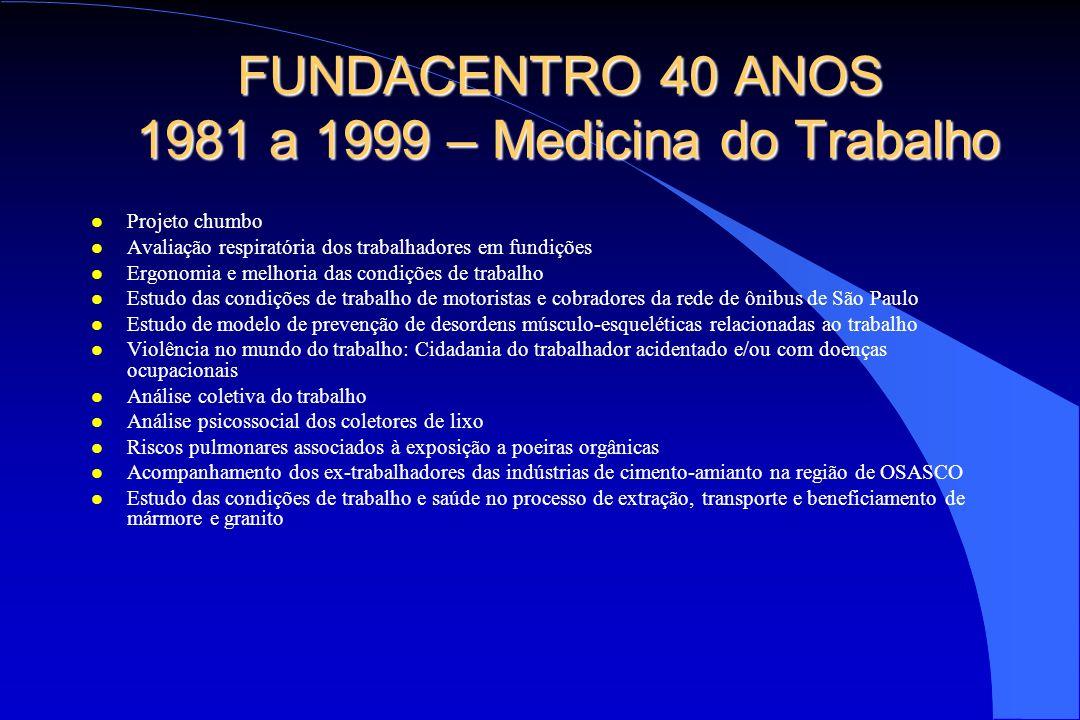 FUNDACENTRO 40 ANOS 1981 a 1999 – Medicina do Trabalho