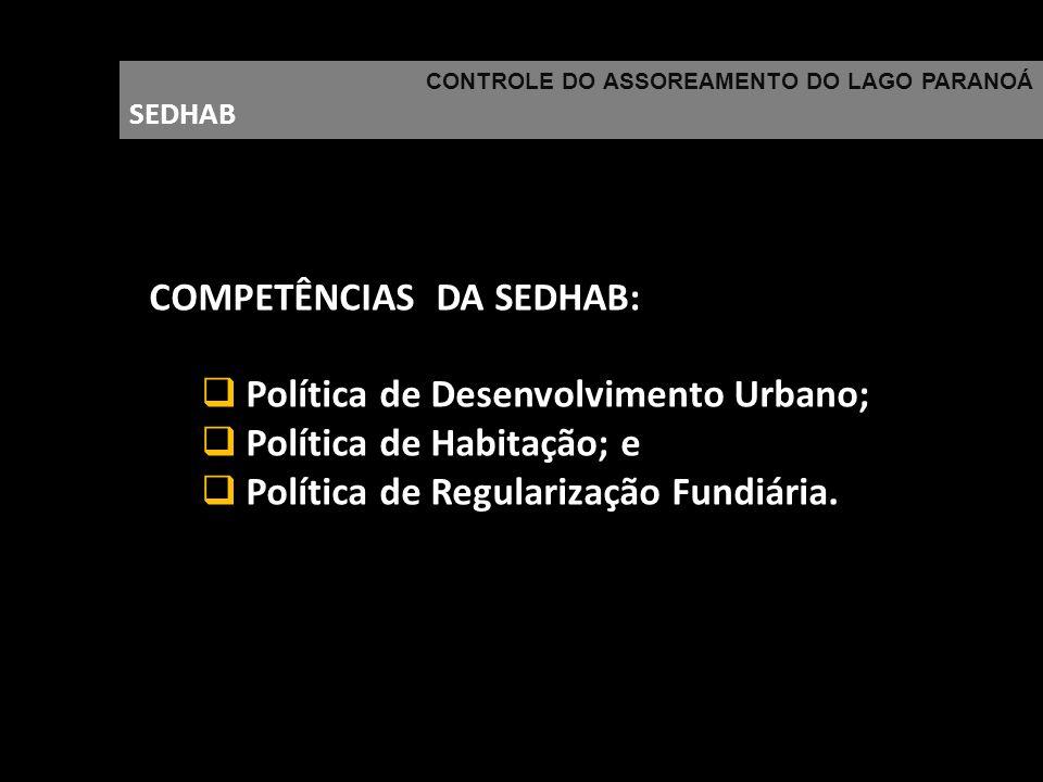 COMPETÊNCIAS DA SEDHAB: Política de Desenvolvimento Urbano;