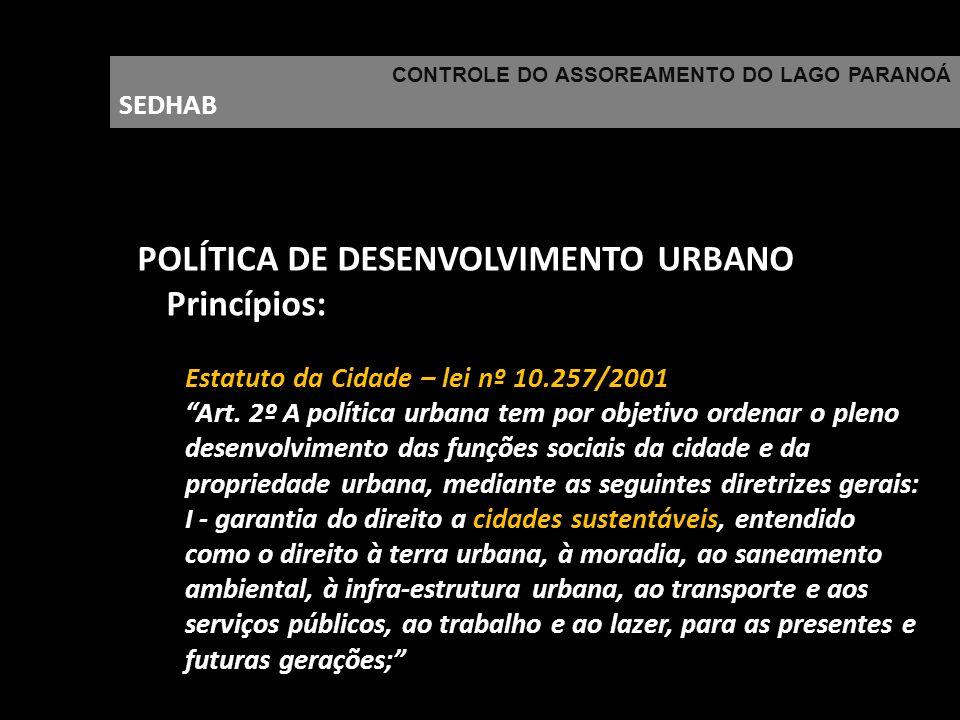 POLÍTICA DE DESENVOLVIMENTO URBANO Princípios: