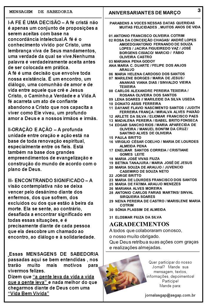 AGRADECIMENTOS MENSAGEM DE SABEDORIA ANIVERSARIANTES DE MARÇO