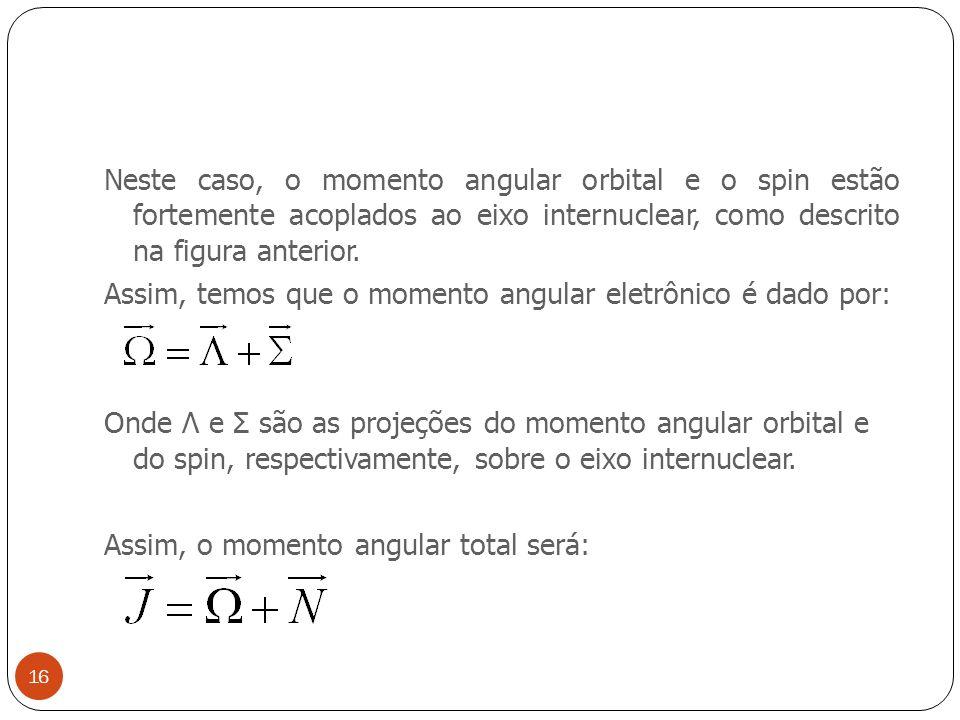Neste caso, o momento angular orbital e o spin estão fortemente acoplados ao eixo internuclear, como descrito na figura anterior.