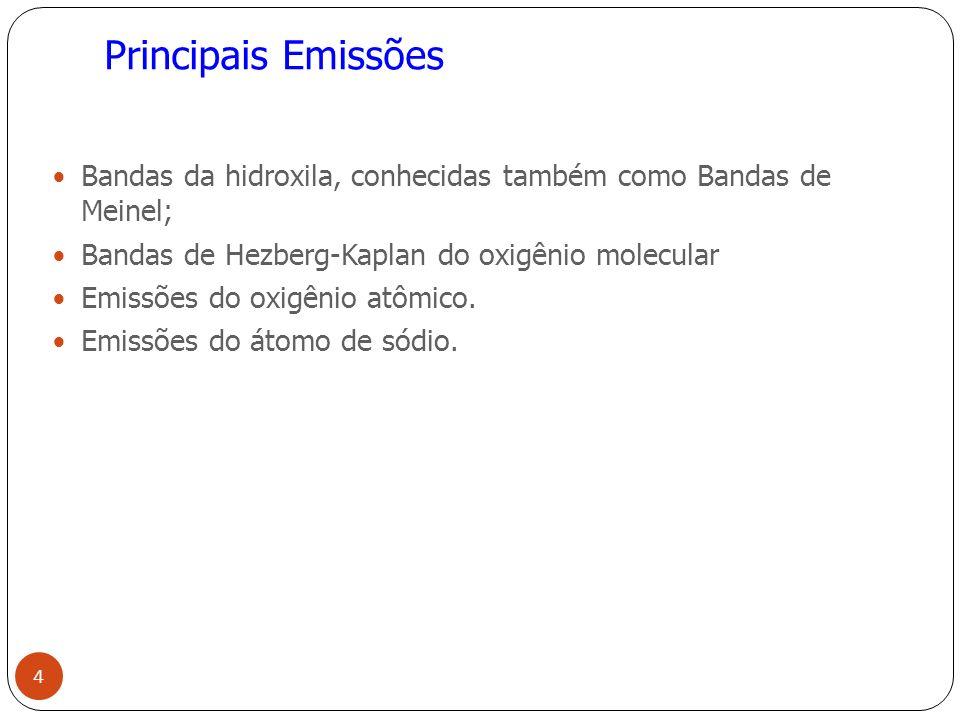 Principais Emissões Bandas da hidroxila, conhecidas também como Bandas de Meinel; Bandas de Hezberg-Kaplan do oxigênio molecular.