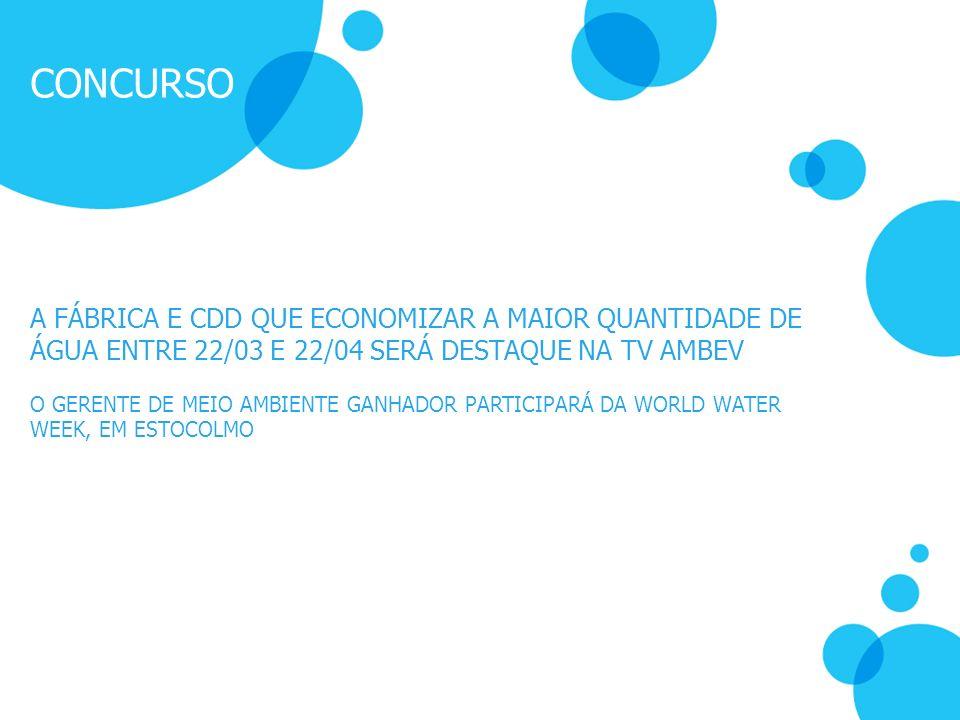 CONCURSO A FÁBRICA E CDD QUE ECONOMIZAR A MAIOR QUANTIDADE DE ÁGUA ENTRE 22/03 E 22/04 SERÁ DESTAQUE NA TV AMBEV.