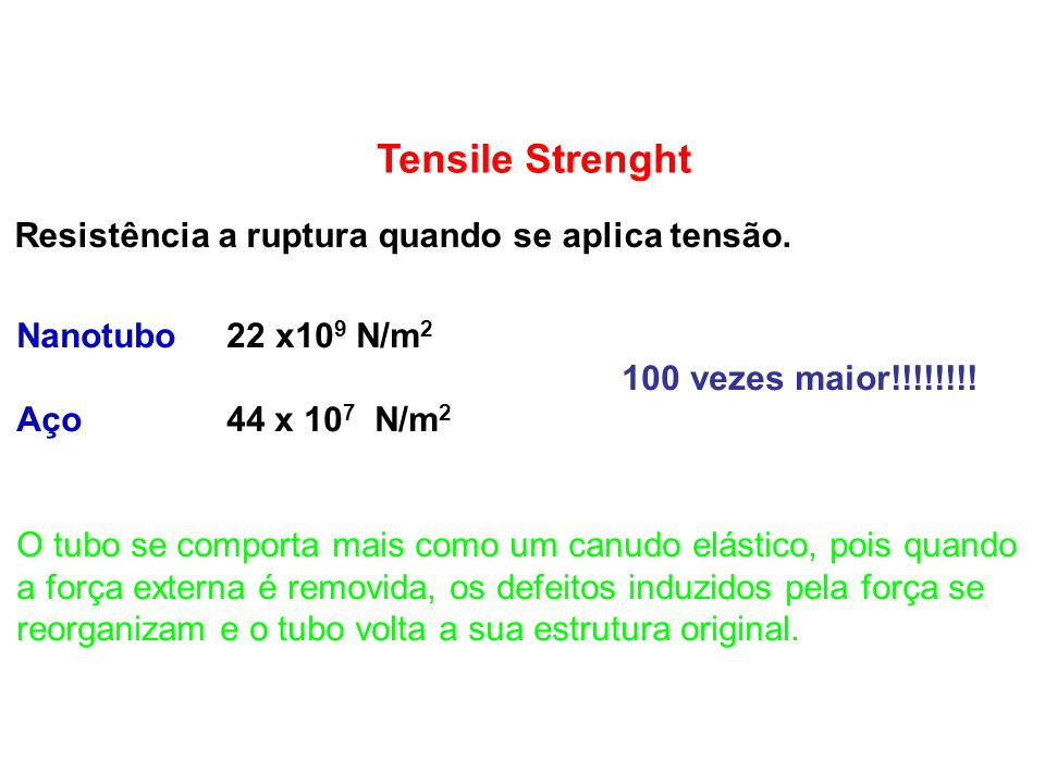 Tensile Strenght Resistência a ruptura quando se aplica tensão.