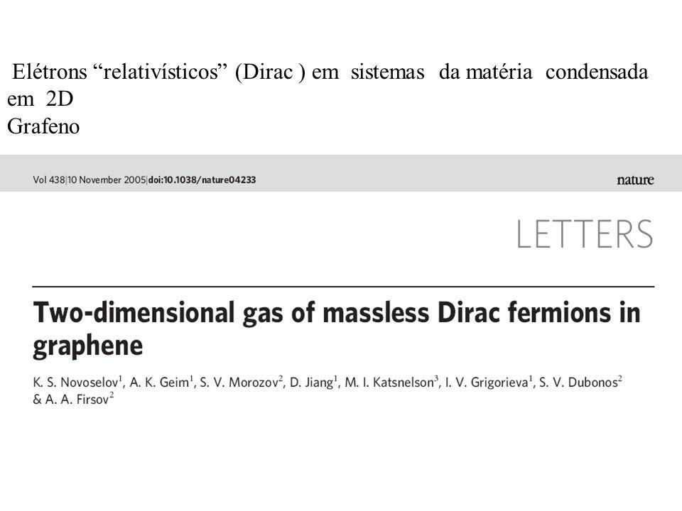 Elétrons relativísticos (Dirac ) em sistemas da matéria condensada em 2D
