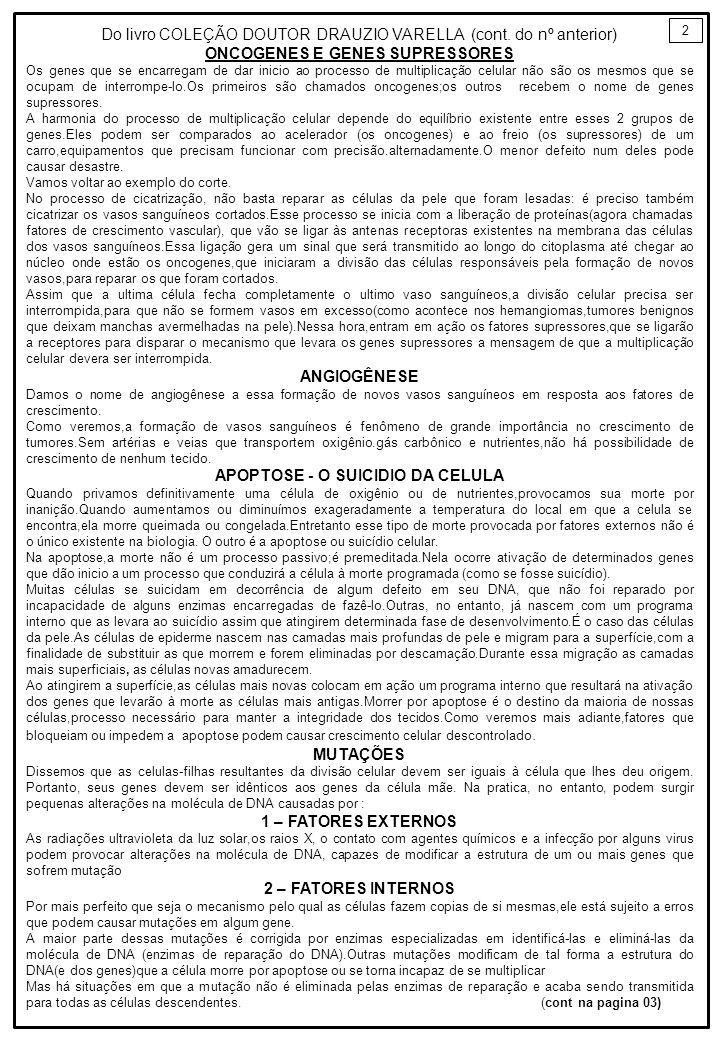ONCOGENES E GENES SUPRESSORES APOPTOSE - O SUICIDIO DA CELULA