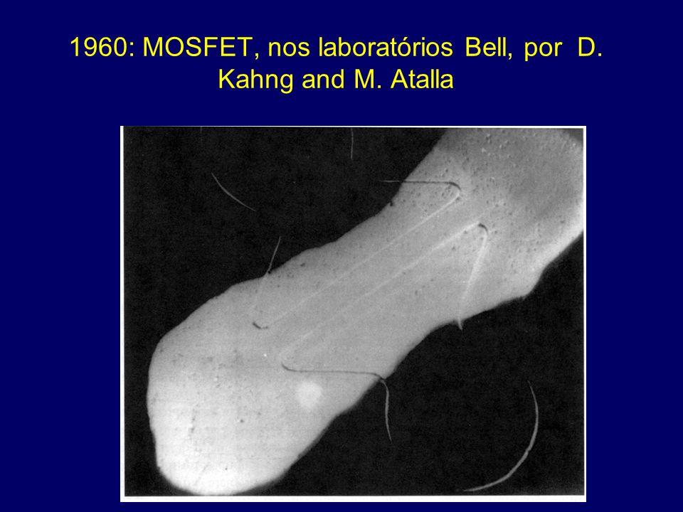 1960: MOSFET, nos laboratórios Bell, por D. Kahng and M. Atalla