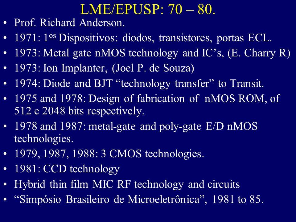 LME/EPUSP: 70 – 80. Prof. Richard Anderson.