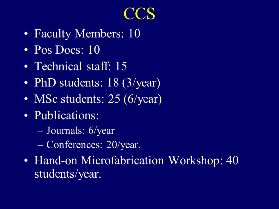 CCS Faculty Members: 10 Pos Docs: 10 Technical staff: 15