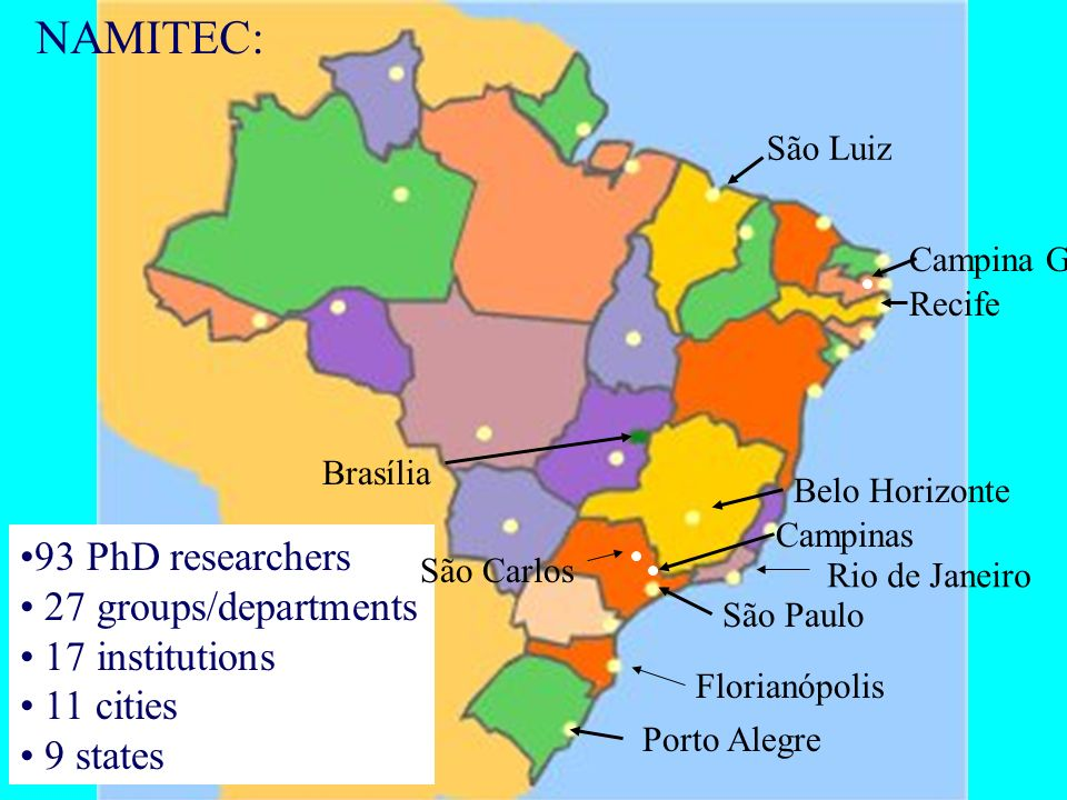 NAMITEC: 93 PhD researchers 27 groups/departments 17 institutions