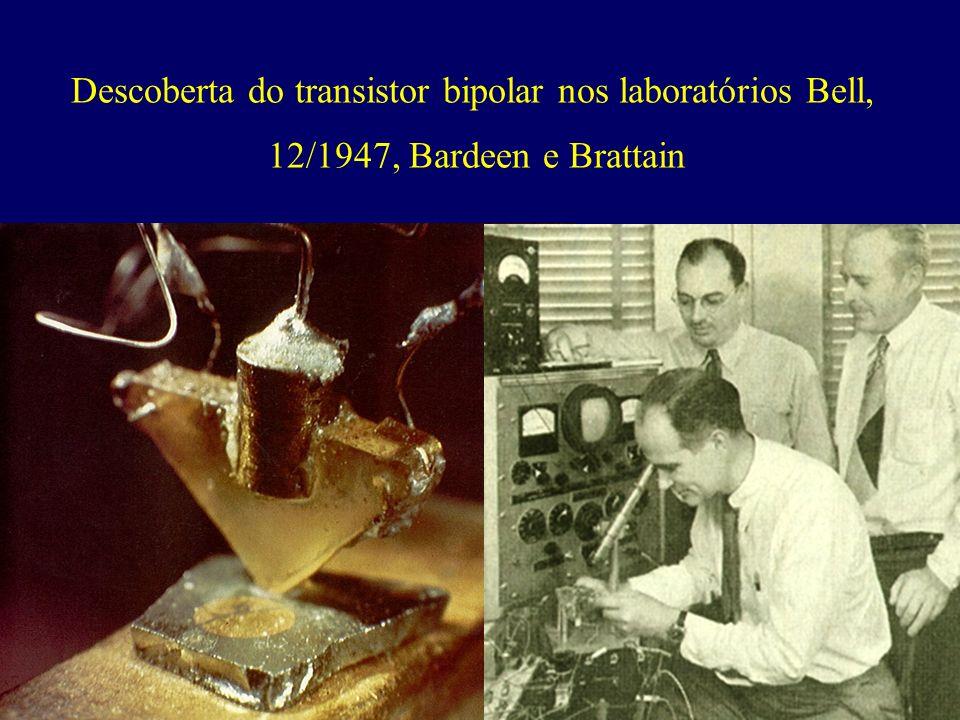 Descoberta do transistor bipolar nos laboratórios Bell, 12/1947, Bardeen e Brattain