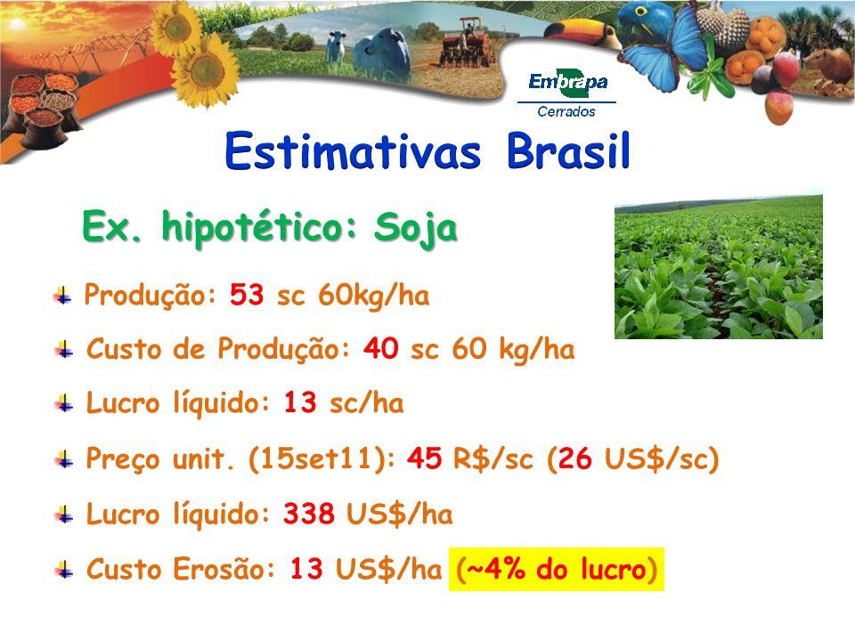 Estimativas Brasil Ex. hipotético: Soja Produção: 53 sc 60kg/ha