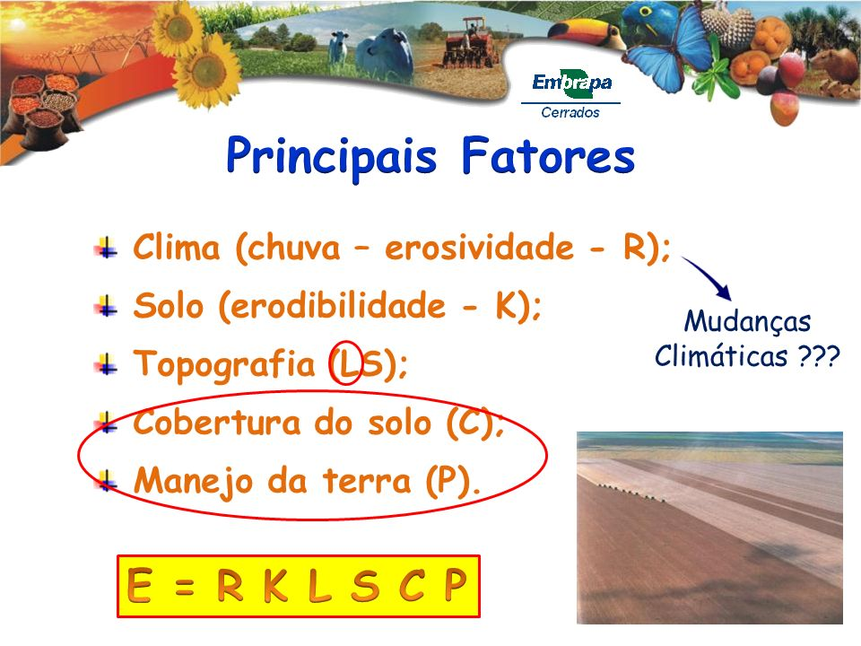 Principais Fatores E = R K L S C P Clima (chuva – erosividade - R);