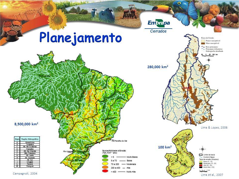Planejamento 280,000 km² 8,500,000 km² 100 km² Lima & Lopes, 2008