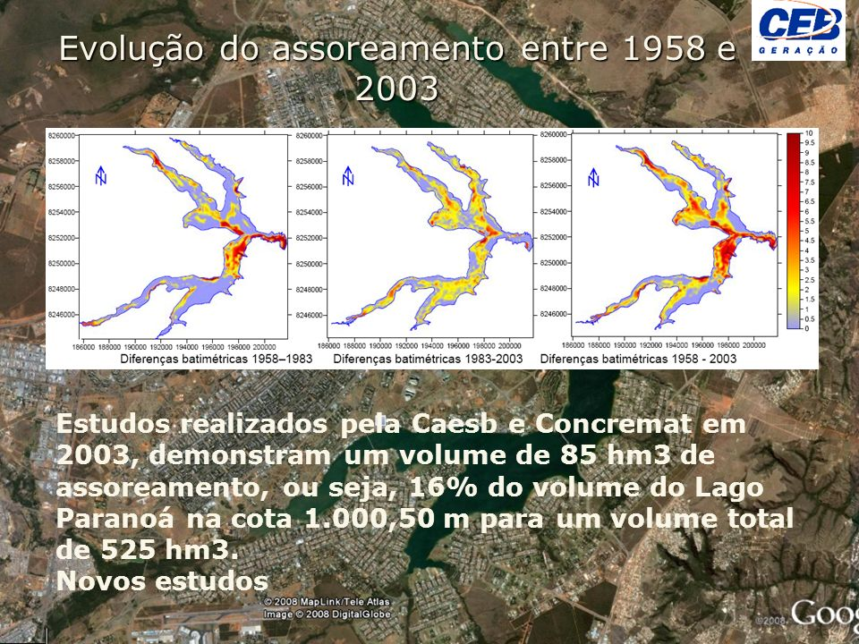 Evolução do assoreamento entre 1958 e 2003