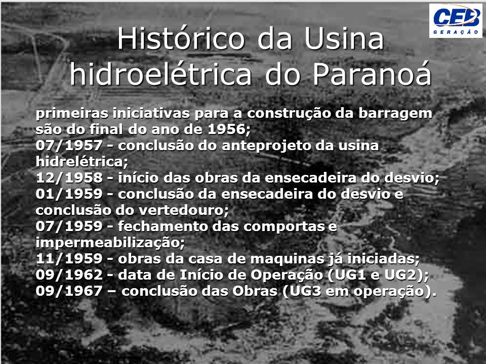 Histórico da Usina hidroelétrica do Paranoá