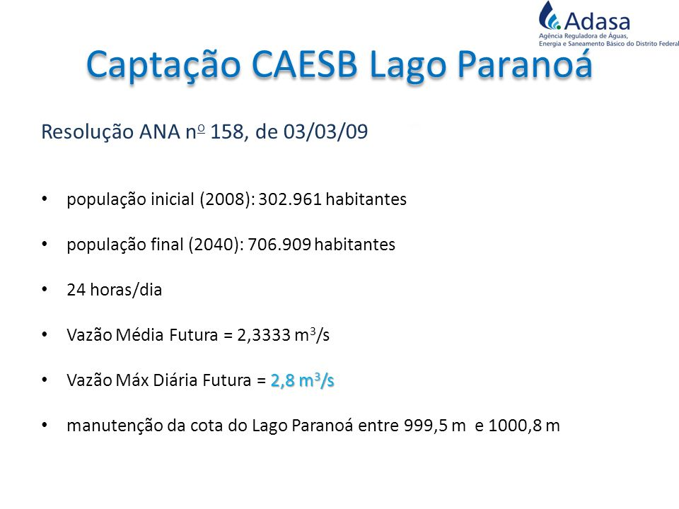 Captação CAESB Lago Paranoá
