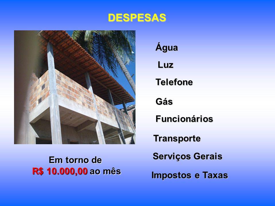 DESPESAS Água Luz Telefone Gás Funcionários Transporte Serviços Gerais