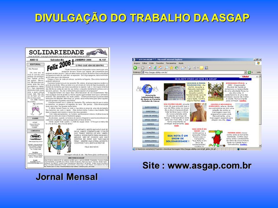 DIVULGAÇÃO DO TRABALHO DA ASGAP