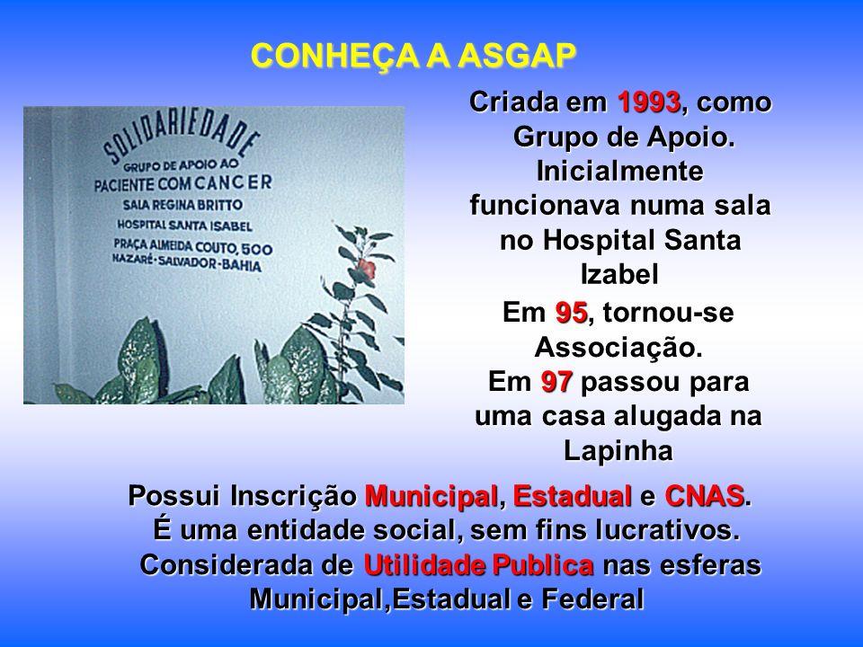 CONHEÇA A ASGAP Criada em 1993, como Grupo de Apoio.