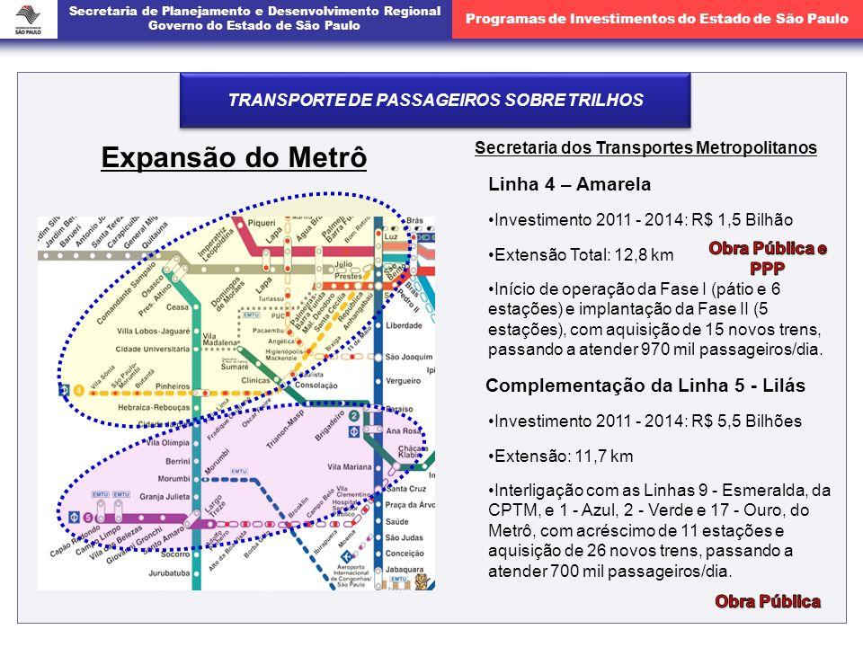 Expansão do Metrô Linha 4 – Amarela Complementação da Linha 5 - Lilás
