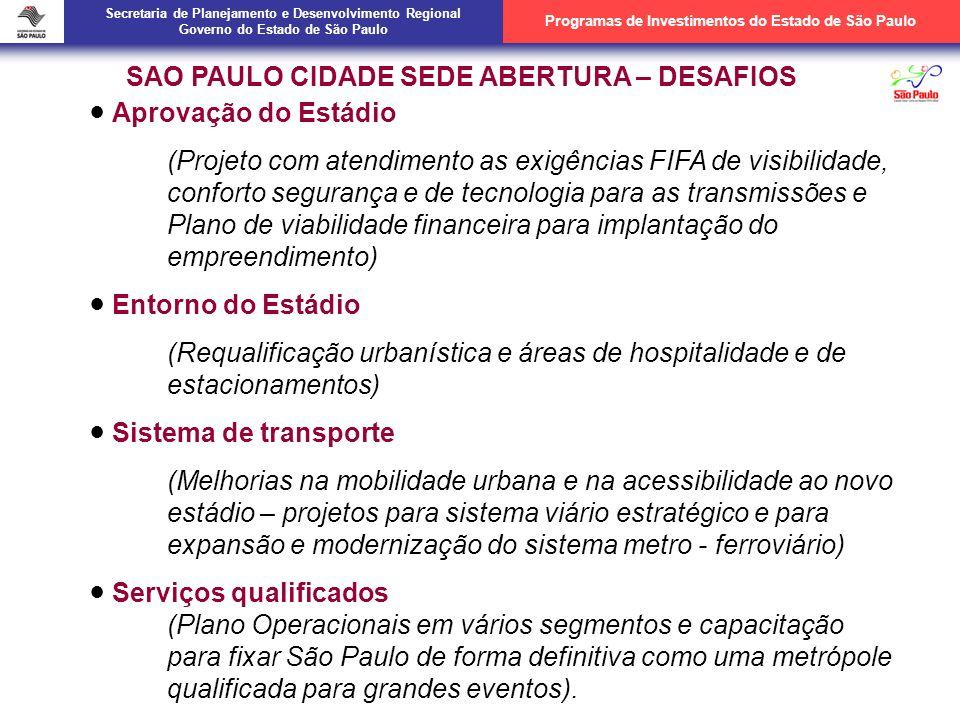 SÃO PAULO CIDADE SEDE ABERTURA – DESAFIOS