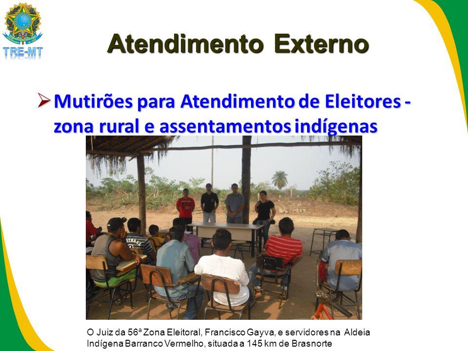 Atendimento Externo Mutirões para Atendimento de Eleitores - zona rural e assentamentos indígenas.