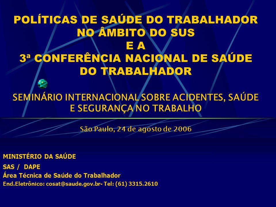 POLÍTICAS DE SAÚDE DO TRABALHADOR NO ÂMBITO DO SUS E A 3ª CONFERÊNCIA NACIONAL DE SAÚDE DO TRABALHADOR SEMINÁRIO INTERNACIONAL SOBRE ACIDENTES, SAÚDE E SEGURANÇA NO TRABALHO São Paulo, 24 de agosto de 2006